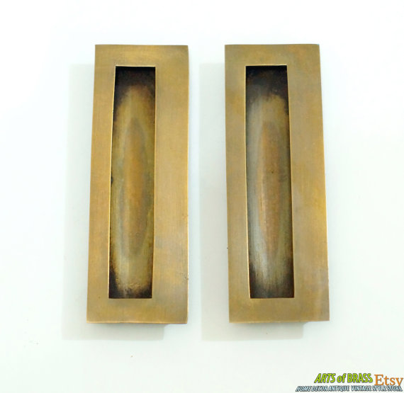 This Listing For 4 68 Inches Lot Of 2 Pcs Vintage Solid Br Baldwin Flush Pull Antique Sliding Door Cabinet Drawer Pulls Cj033