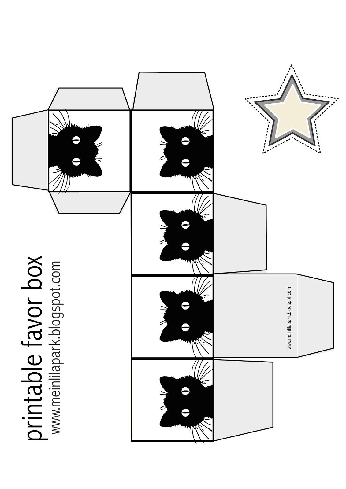 free printable black and white colored kitty favor box  [ 1131 x 1600 Pixel ]
