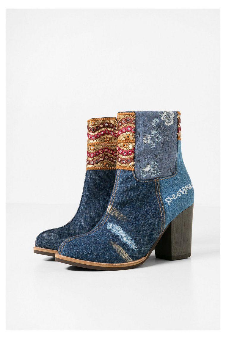 ankle Floral Denim Patch boots Folk5006 N0vnwm8