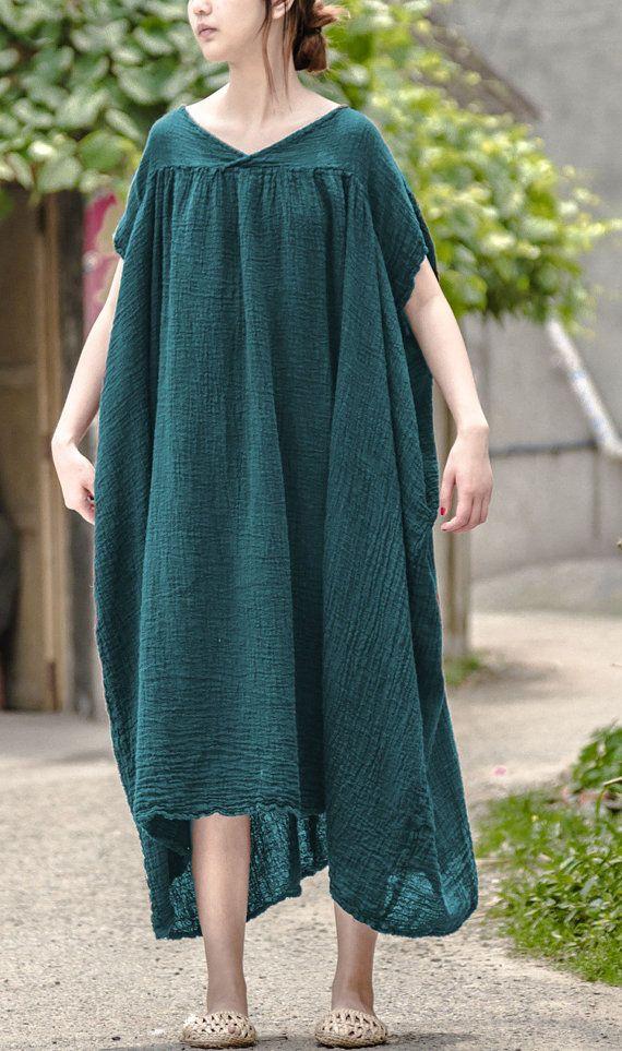 8ac1e42c89 Asymmetrical blouse linen tunic dress linen maxi dress long kaftan shift  dress loose sundress boho d