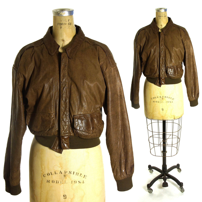 Cropped Brown Leather Bomber Jacket Vintage 80s Military Etsy Bomber Jacket Vintage Brown Leather Bomber Jacket Leather Bomber Jacket [ 3000 x 3000 Pixel ]