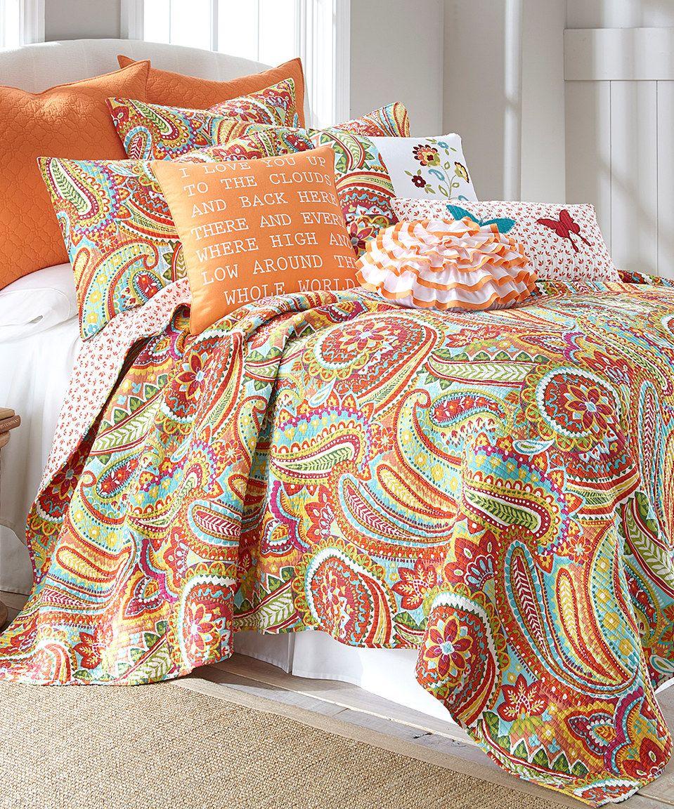 Levtex Home Teal Amp Orange Paisley Cotton Quilt Set Quilt