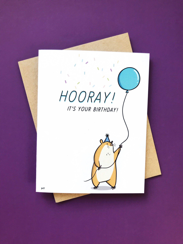 Hamster Birthday Card Printable Happy Birthday Card Cute Etsy In 2021 Happy Birthday Cards Printable Birthday Card Printable Greeting Card Inspiration