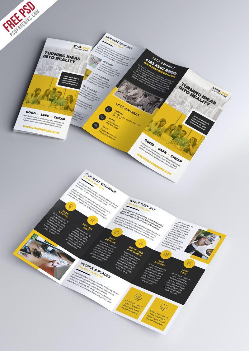 Multipurpose TriFold Brochure Psd Template  Tri Fold Brochure