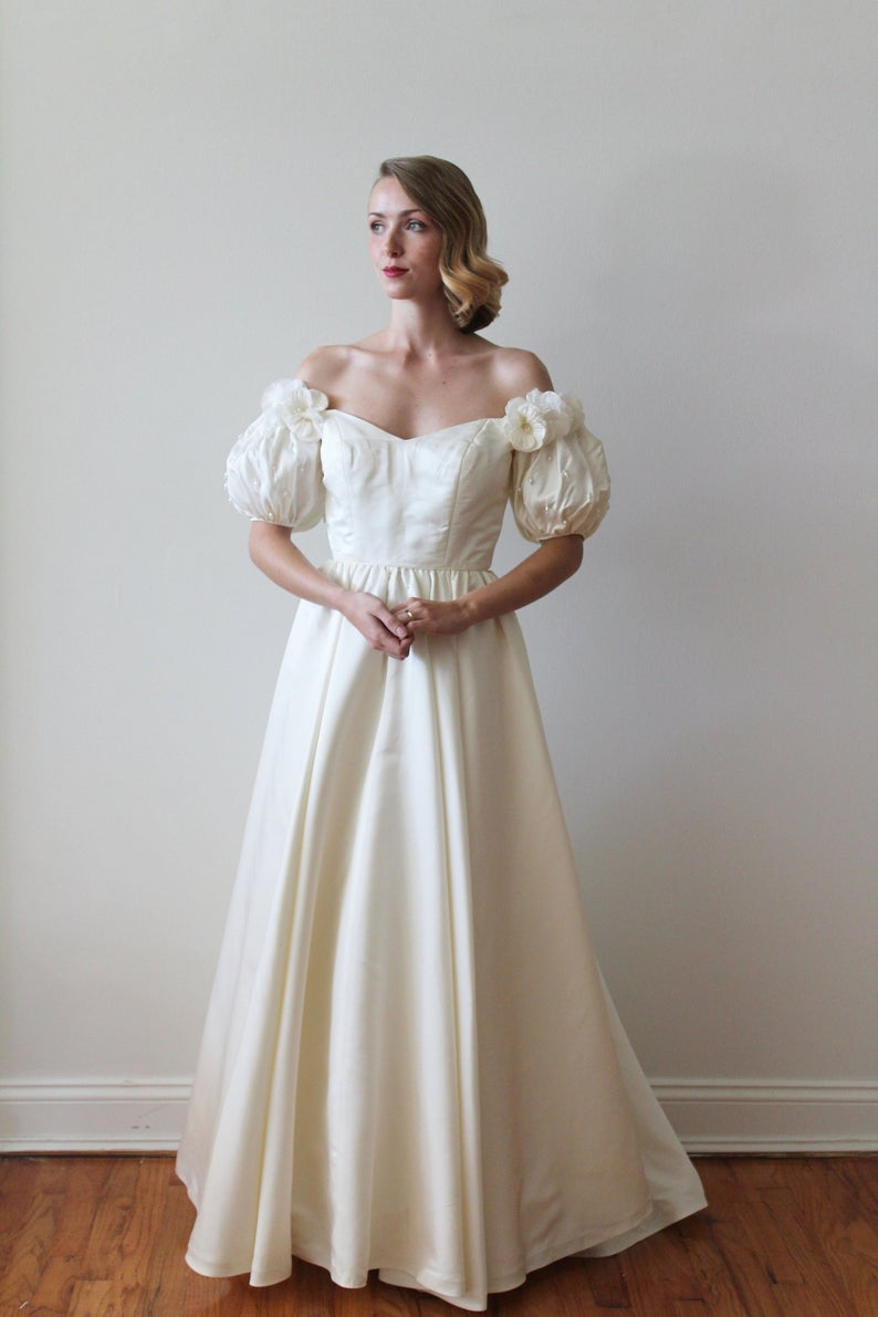 Vintage 1980s Couture Wedding Dress with Puff Sleeves and