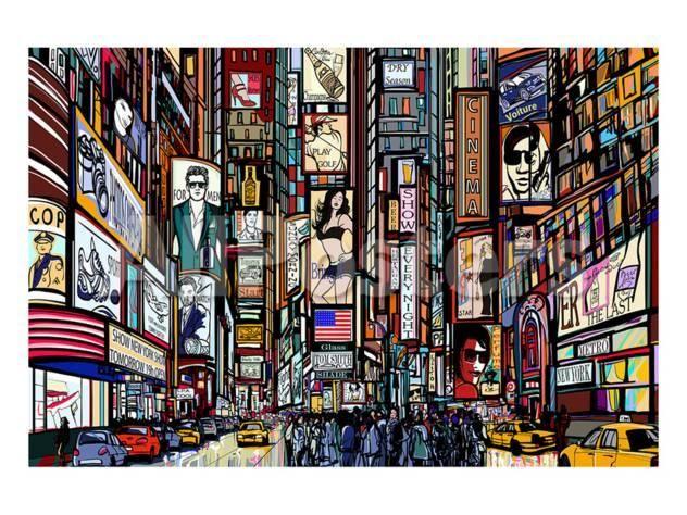 New York Times Square Pop Art Landscapes Art Print 30 X 23 Cm Photo Wallpaper Mural Wallpaper New York Street