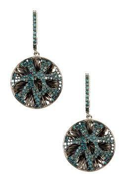 Two-Tone Blue Diamond Dangle Earrings - 1.30 ctw