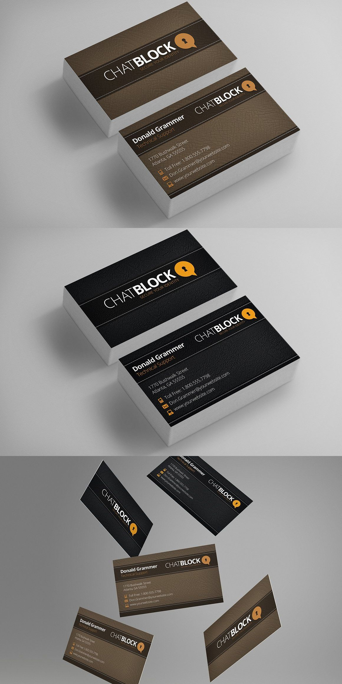 Leather Business Cards Free Logo Templates PSD
