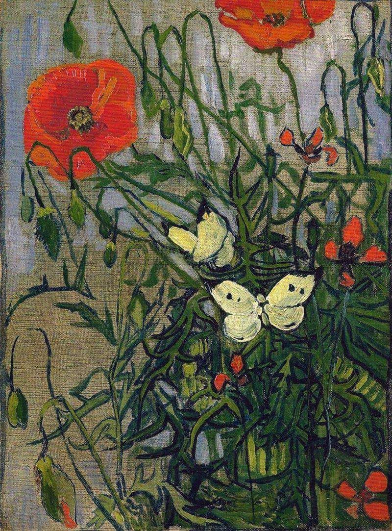 """Vincent van Gogh (Dutch, Post-Impressionism, 1853-1890) """"Poppies and Butterflies"""", 1890. Created in Saint-rémy-blanzy, France. Oil on canvas, 34.5 x 25.5 cm, Van Gogh Museum, Amsterdam, Netherlands"""