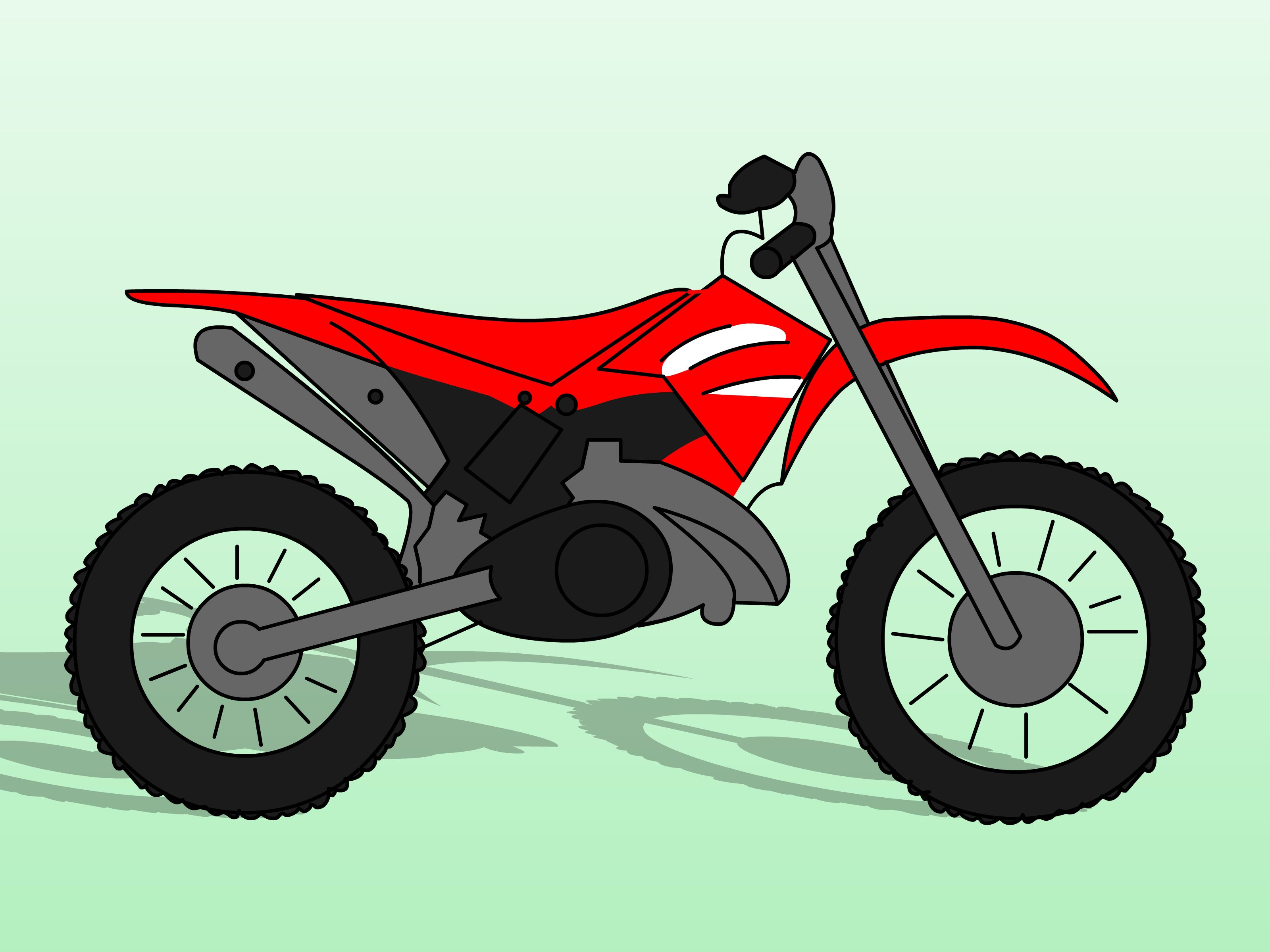 In This Tutorial You Will Learn How To Draw Dirt Bikes Which Are Motorcycles Designed To Run On Rough Terrain Enjoy Bike Drawing Dirt Bike Motorcycle Drawing