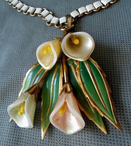 Coro Enamel on Brass Lily Pendant Necklace