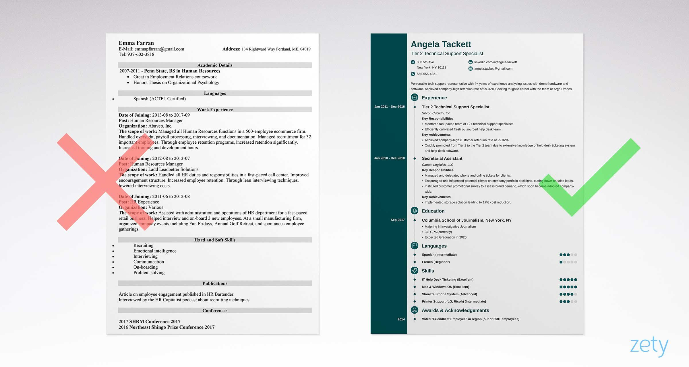 Cv Template Zety Simple resume template, Simple resume
