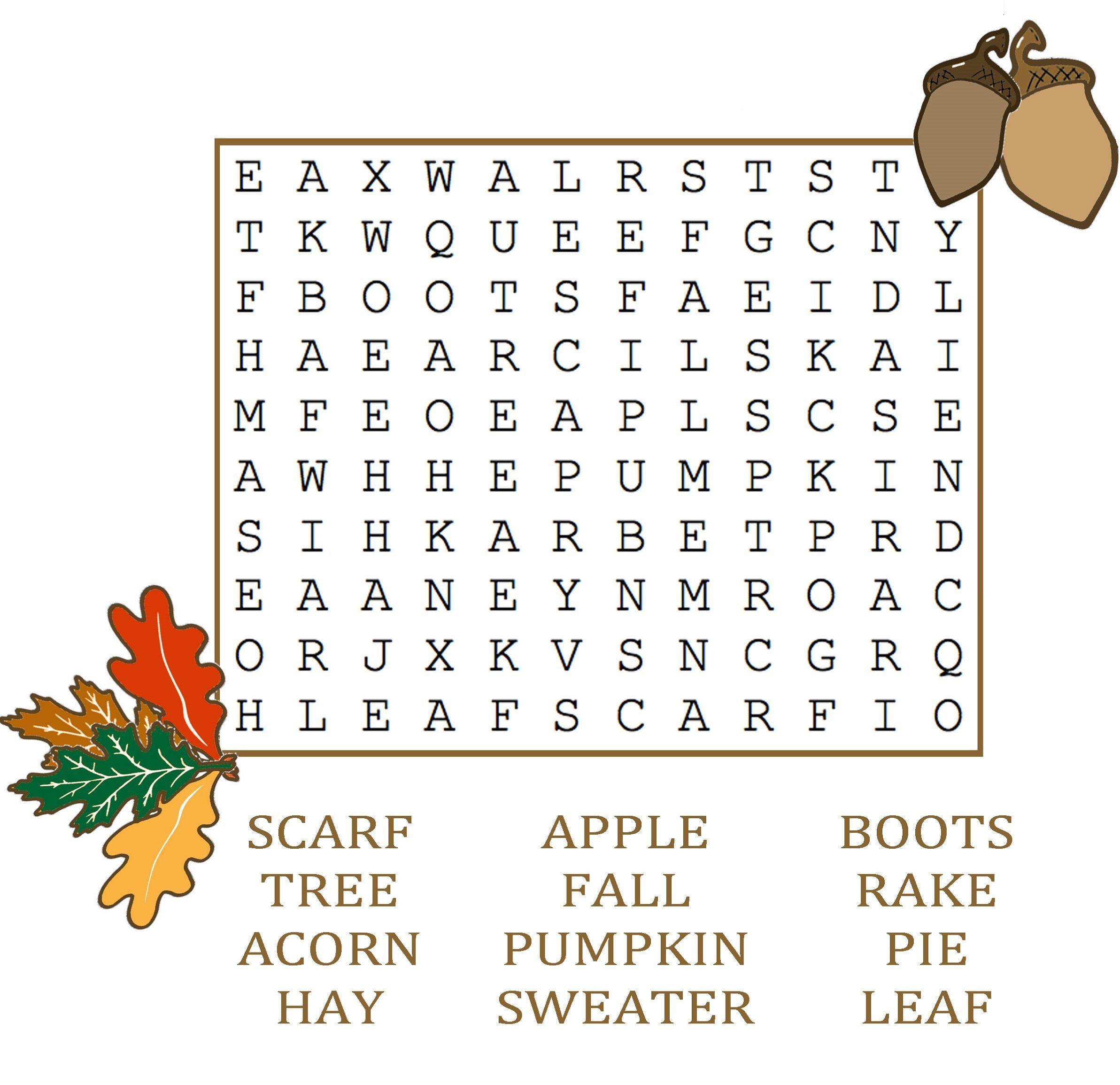 Fall Word Search In
