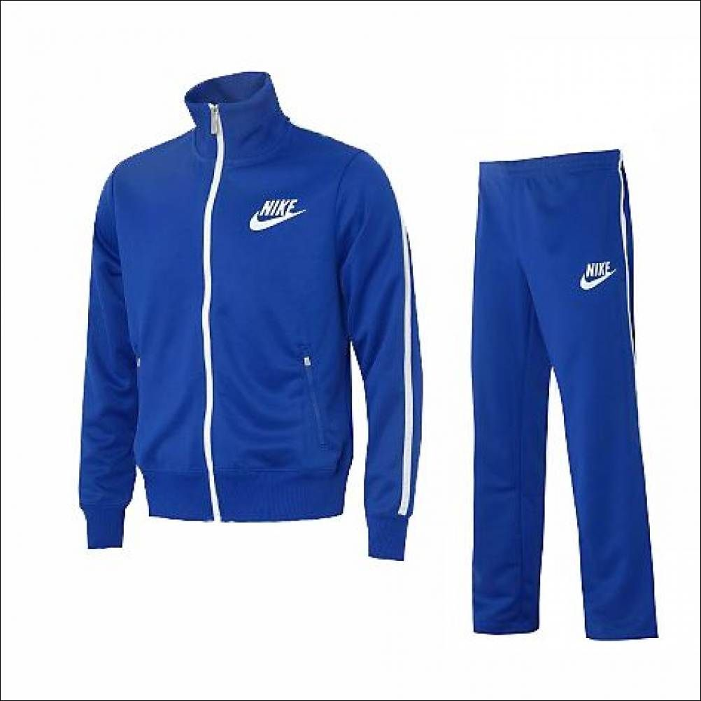 black and blue nike tracksuit