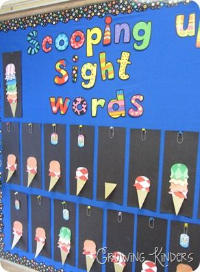 Scooping up Sight Words: sight words are divided into color-coded lists. When a student learns a list, they add that color scoop to their ice cream cone! She used CTP's Dots on Black borders and Poppin' Patterns letters. Great teaching idea! #readingactivity