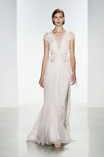 Lainee By Christos Bridal Satin Faced Silk Chiffon Gown With Low Neckline And Back Corded Lace Hand Liqued On Bodice Sleeve
