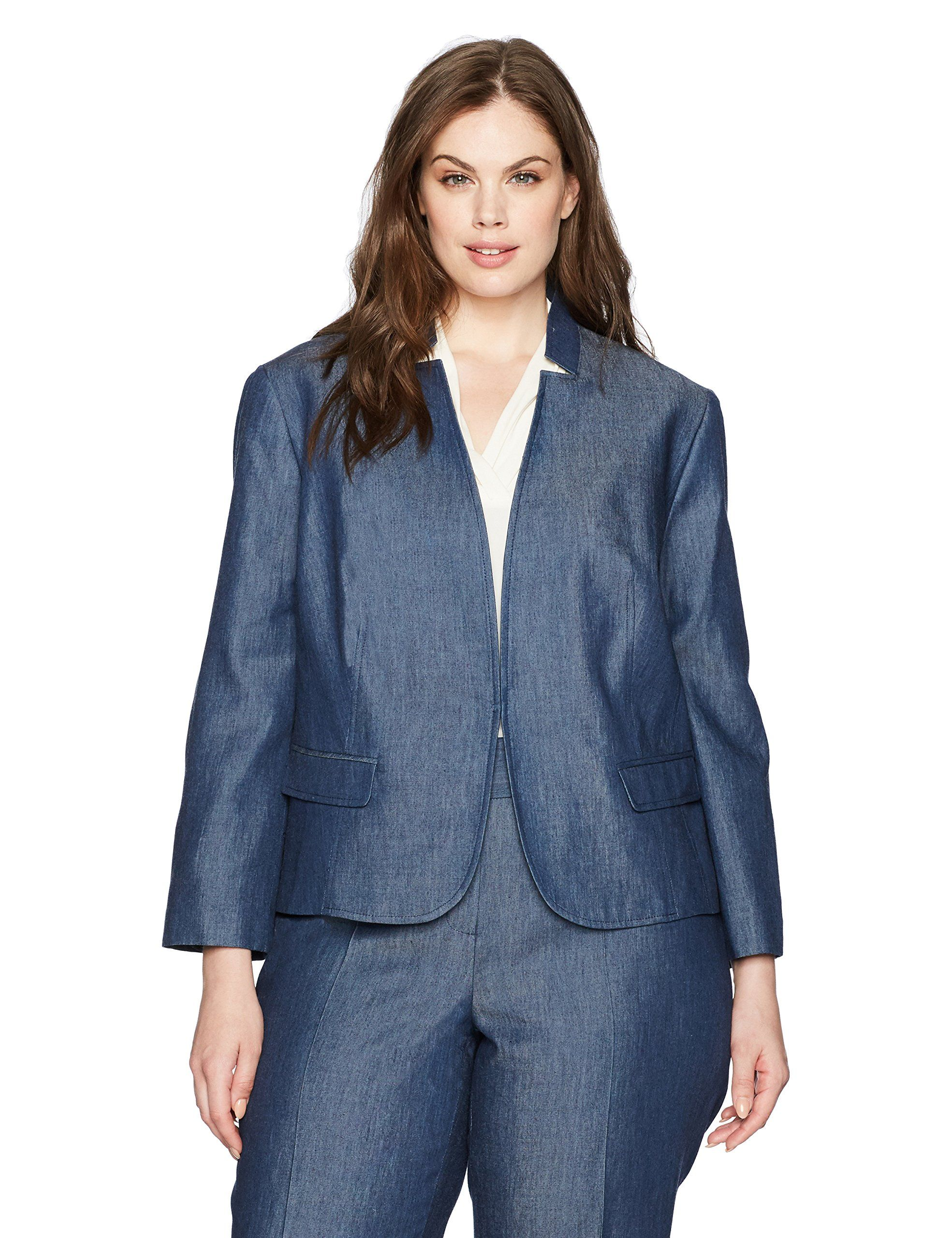 Nine West Women's Plus Size Kiss Front Jacket, Indigo, 14W