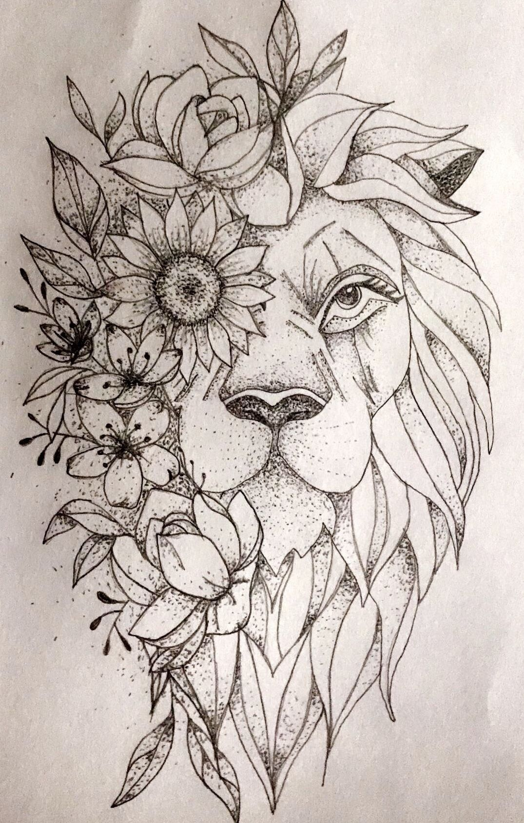 Tattoo Drawing Bloem Leeuw In 2020 Simple Lion Tattoo Lion Tattoo Lion Tattoo Design