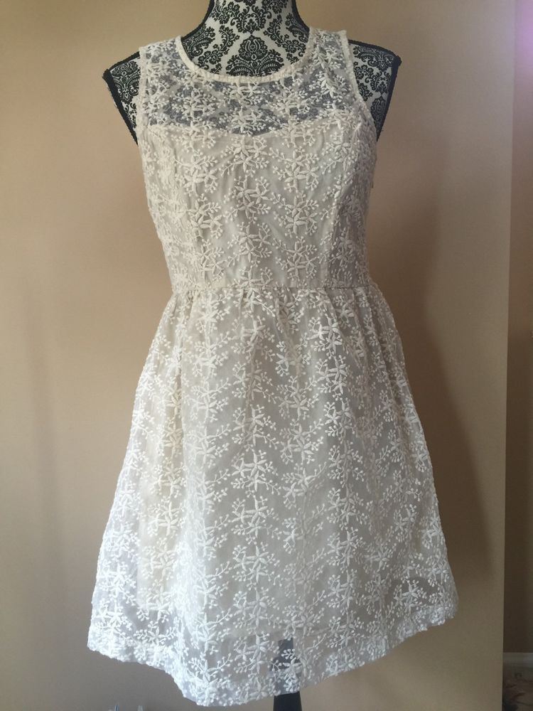 9d41636d1fa74 Max & Riley Cream Dress Size M cream lace keyhole back dress | eBay ...