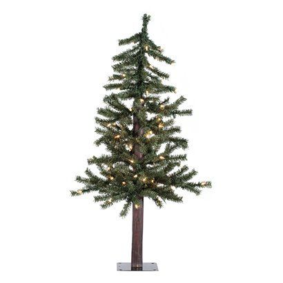 3\u0027 Pre-Lit Natural Alpine Tree - Clear Lights Holiday decor! D