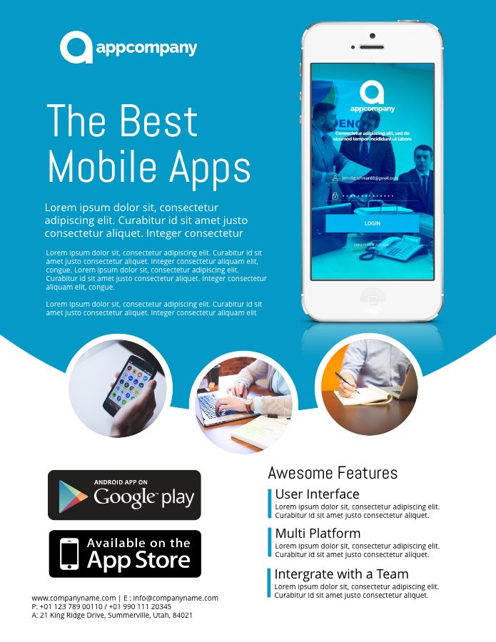 Mobile App Advertisement Poster Template.  Advertisement Flyer Maker