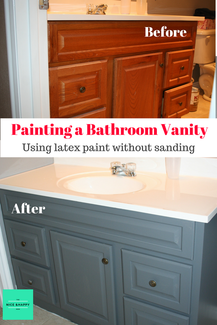 Painting A Bathroom Vanity Bathroom Vanity Makeover Bathroom Flooring Painting Bathroom Cabinets