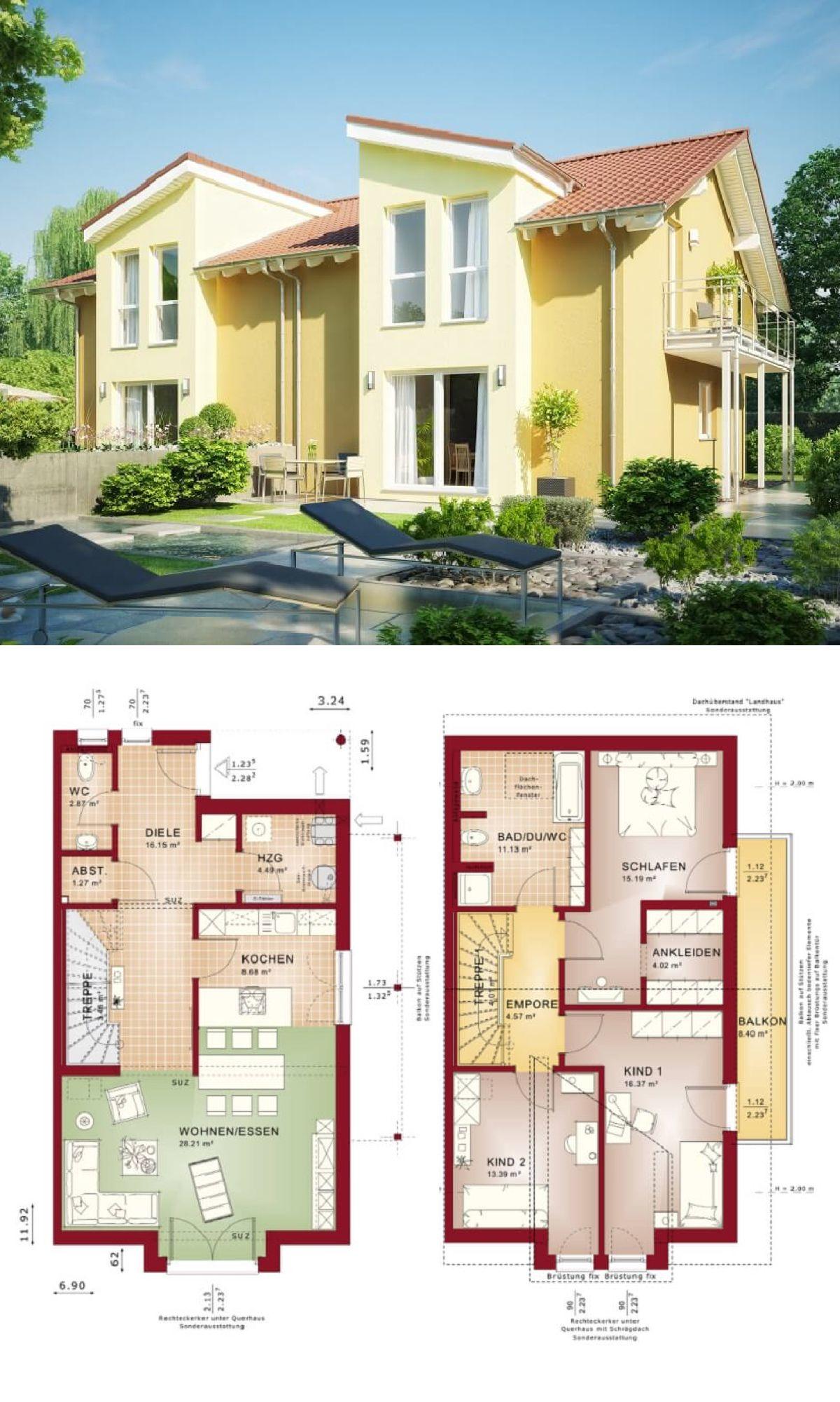 doppelhaus architektur mit satteldach haus celebration 131 v3 l bien zenker fertighaus doppelhaushlfte grundriss - Fertighausplne