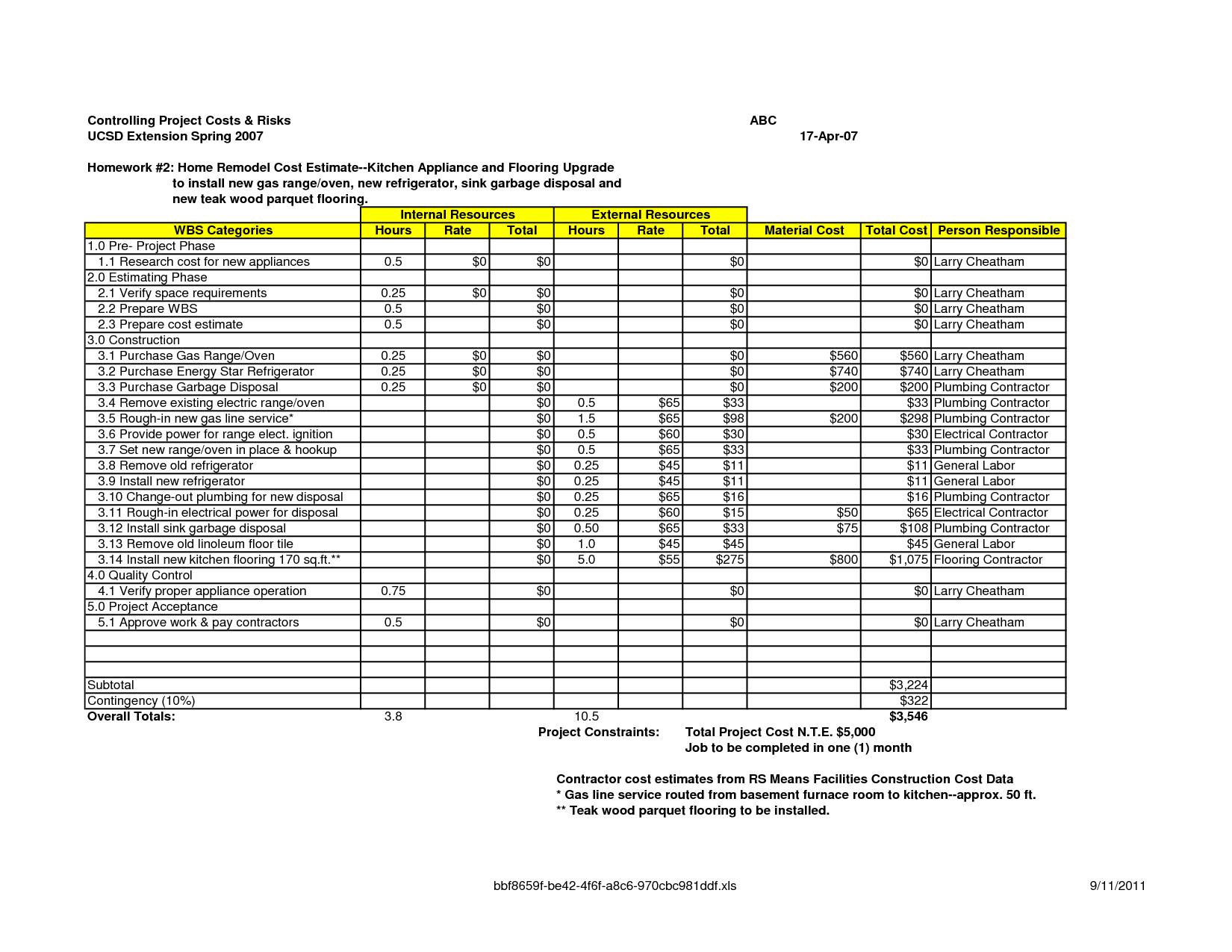 Remodel Worksheet
