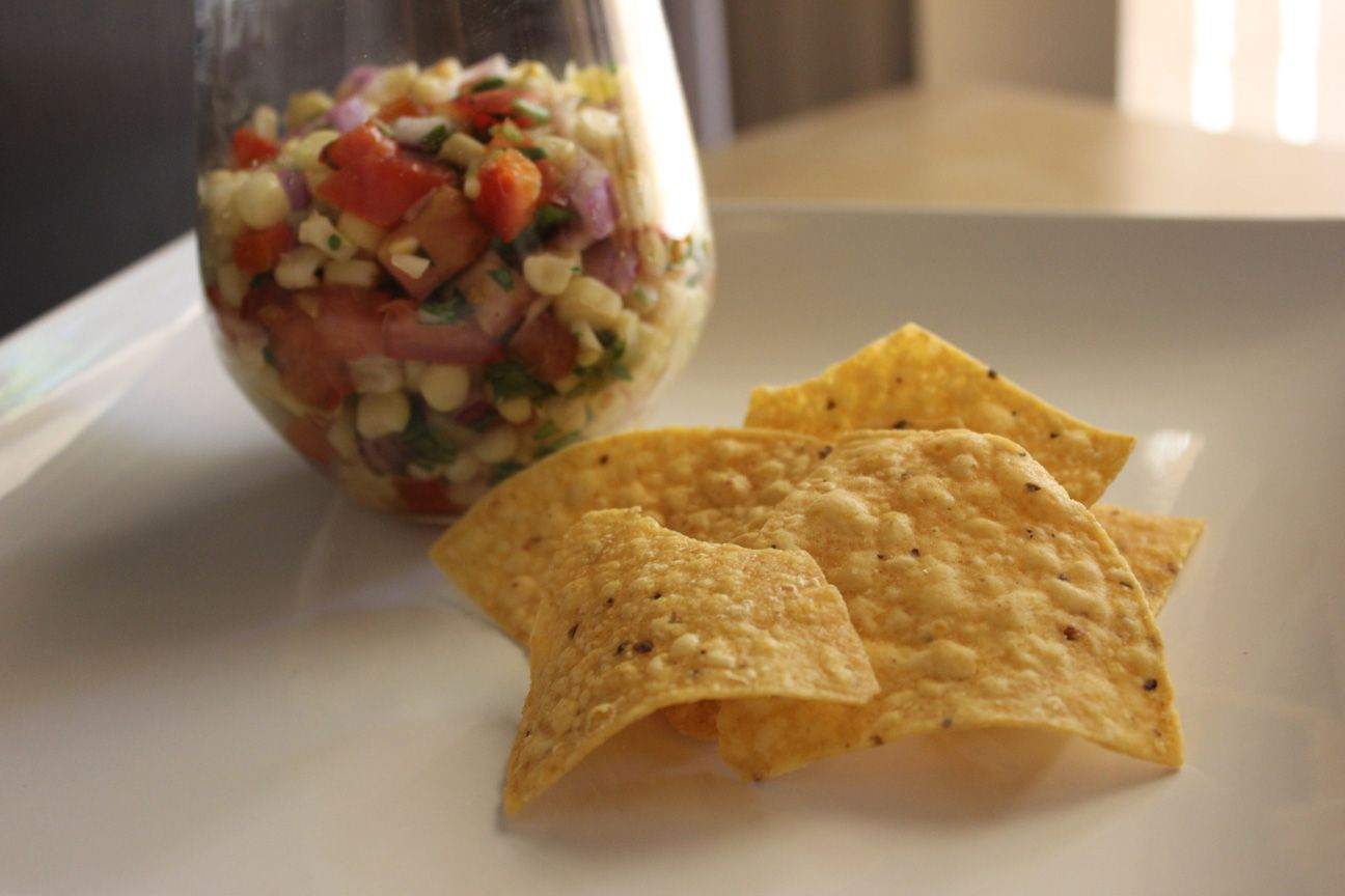 Roasted Corn Salsa and tortilla chips