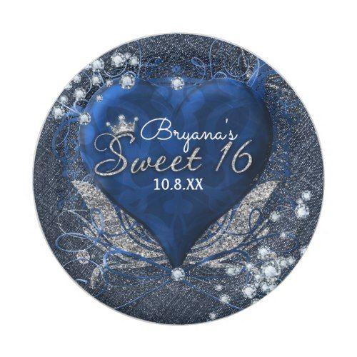 Denim \u0026 Diamonds Blue Heart Sweet 16 Party Paper Plate  sc 1 st  Pinterest & Denim \u0026 Diamonds Blue Heart Sweet 16 Party Paper Plate | Party Paper ...