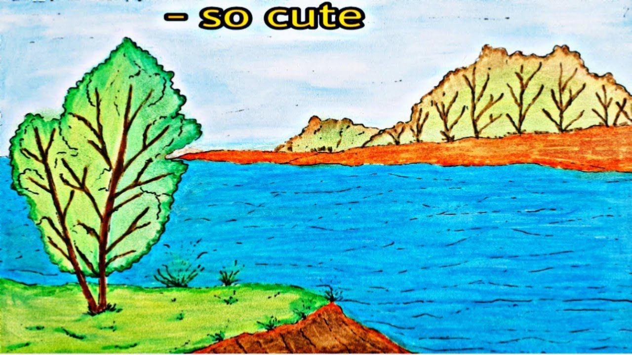 Draw Riverside Scenery تعليم الرسم رسم سهل منظر طبيعي في وادي Art Painting Cute
