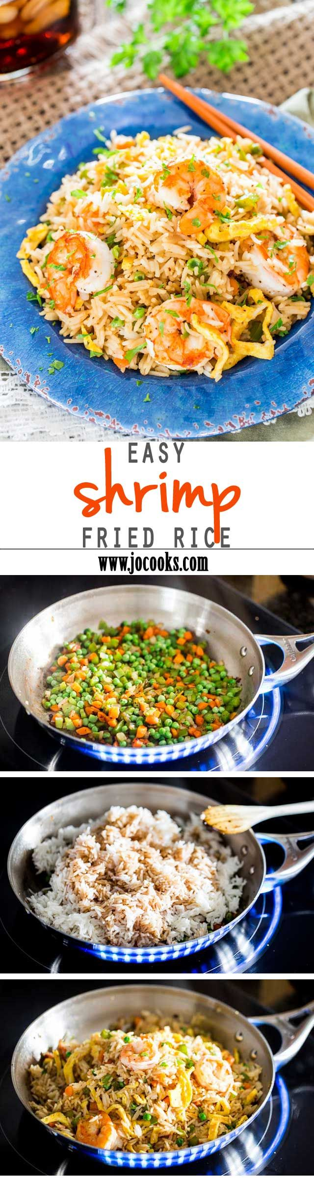 Easy shrimp fried rice - forget take out! Make your own fried rice at home, so much better and healthier. A quick and easy Asian inspired recipe perfect for busy weeknights.