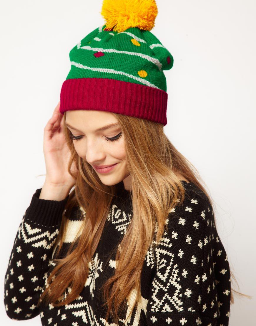 Christmas tree pom beanie | CHRISTMAS & HANUKKAH | Pinterest ...