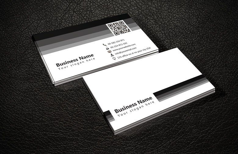 Black And White QR Code Business Card Templatebusiness Template