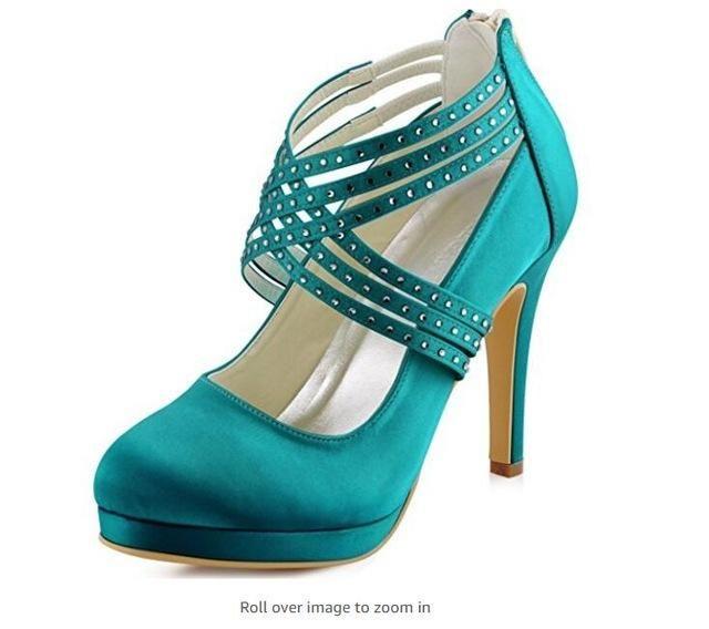 Women High Heel Shoes Platform Navy Blue prom party Cross Strap crystal Satin  Wedding Bridal Pumps EP11085 Silver white ivory b7148b5d74ef