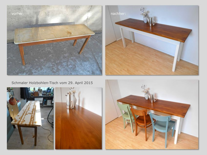 Vorher Nachher Holzbohlen-Tisch 29.04.2015 | Shabby Chic Im