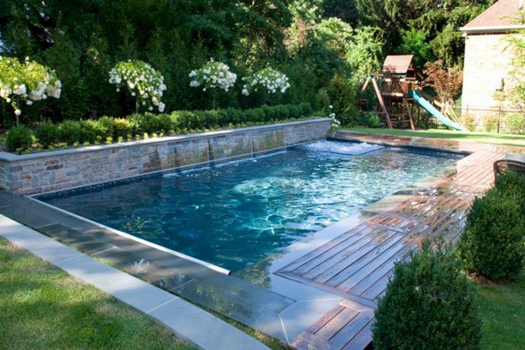 25 Stunning Rectangle Inground Pool Design Ideas With Sun Shelf Backyard Pool Designs Backyard Pool Landscaping Small Pool Design