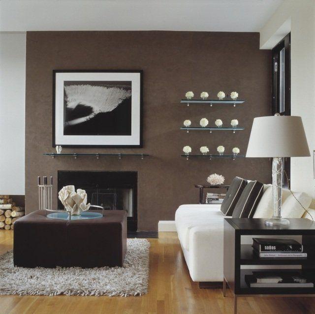 idée-déco-salon-mur-marron-ottoman-marron idée déco salon