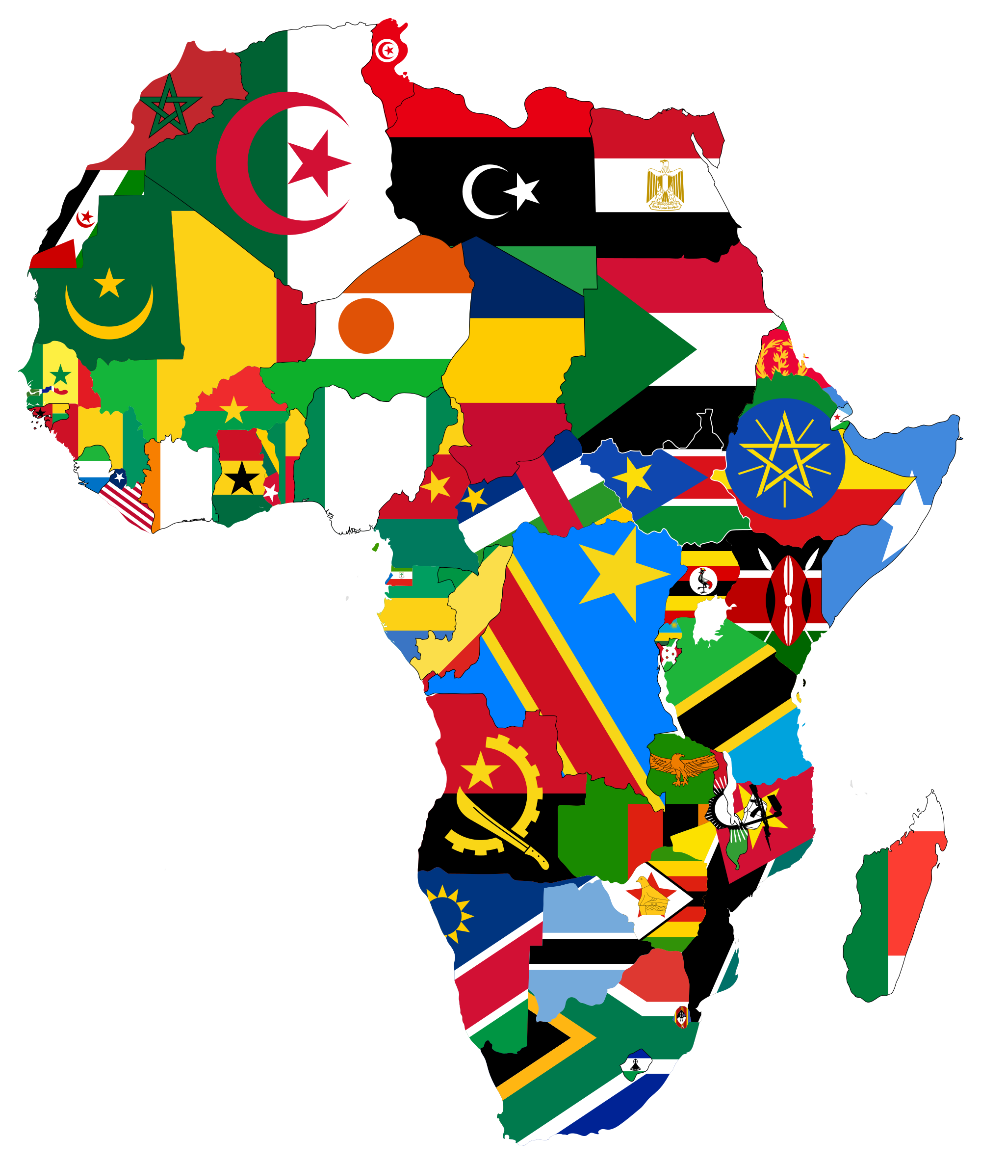 africa map and flags