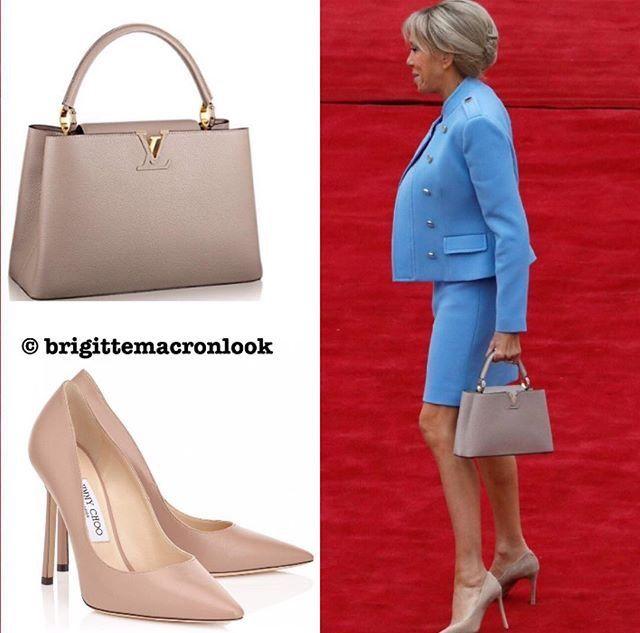 5174d06733a À la céremonie d investiture Brigitte Macron Louis Vuitton and Jimmy Choo  perfect match  Brigittemacronstyle