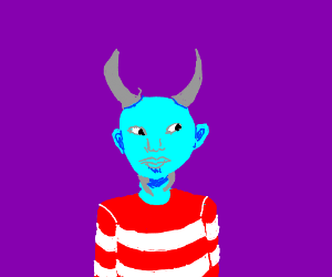 Monster kid w/ pairs of horns on the top & bottomOfHead  #drawing #illustration #monster