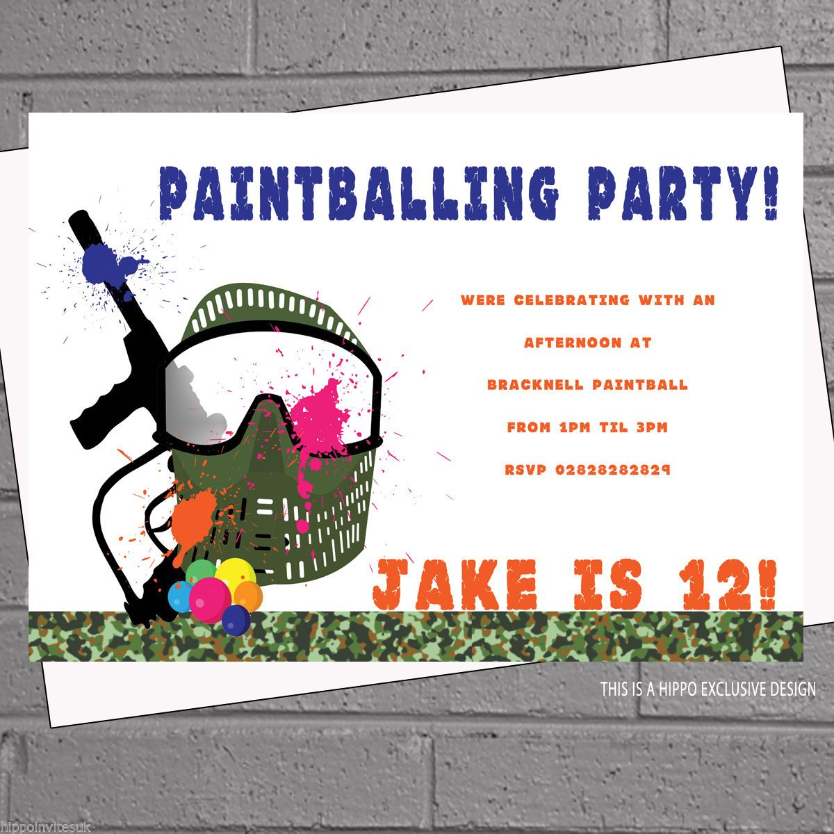 Paintballing party #paintball birthday party #invites x 12 +envs ...