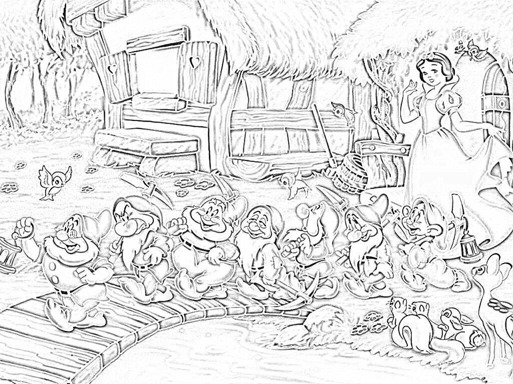 disegni da colorare biancaneve e sette nani