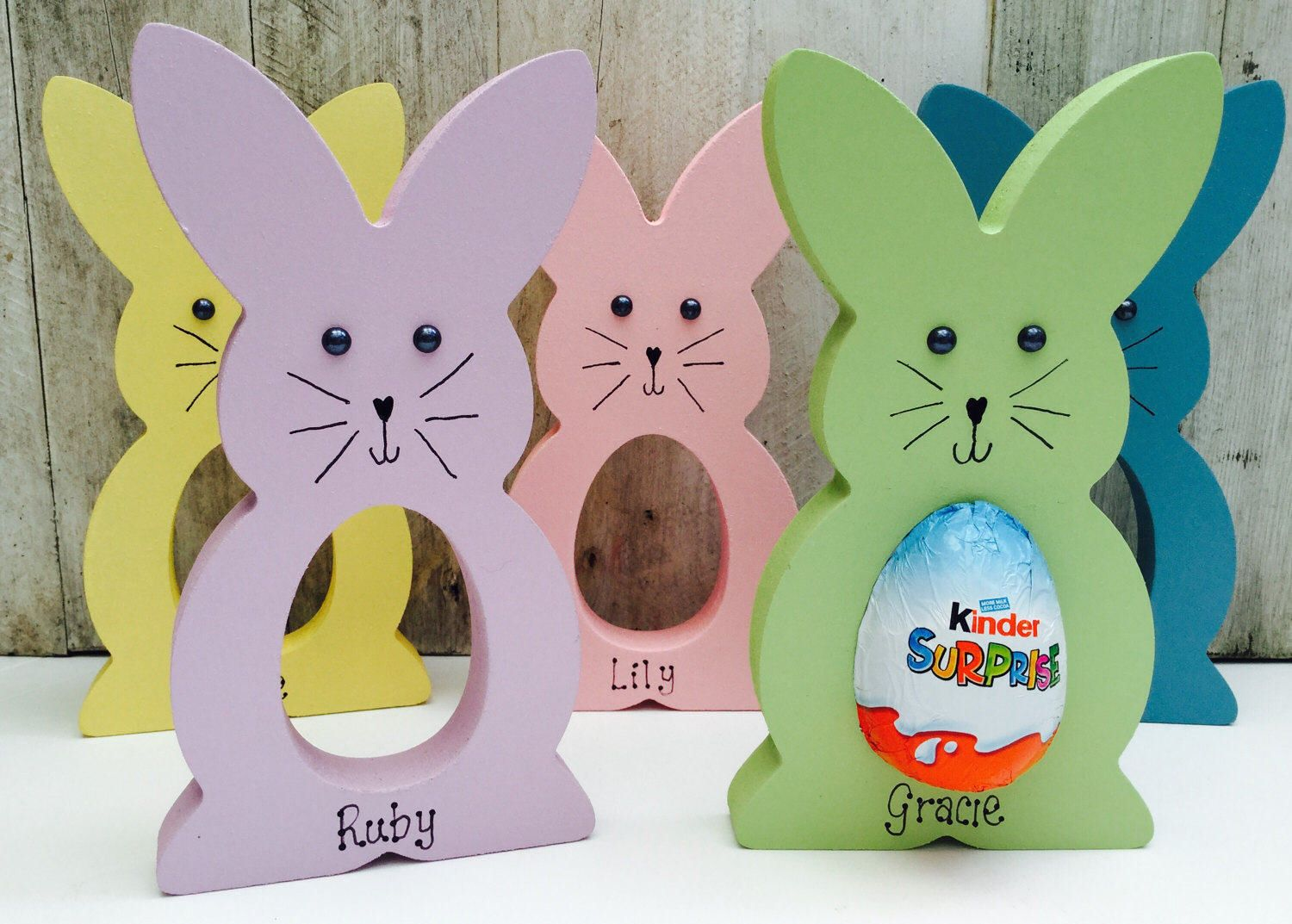 Personalised easter egg bunny gift kinder egg holder party bag items similar to personalised easter egg bunny gift kinder egg holder party bag favours on etsy negle Images