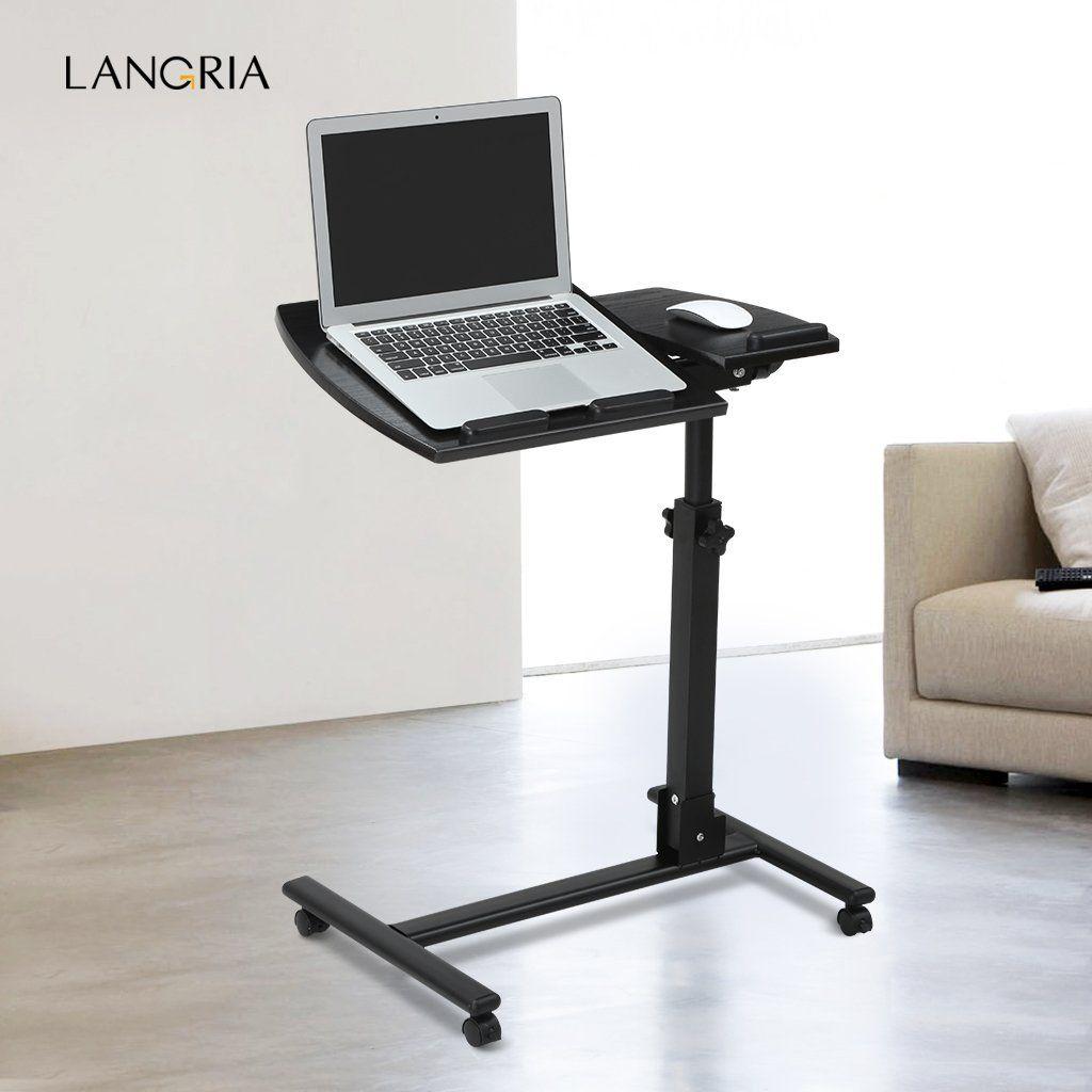 Amazon Com Langria Laptop Table Mobile Desk Cart Adjustable Laptop Cart Portable Black Computer Desk 360 Mobile Desk Laptop Table Adjustable Standing Desk