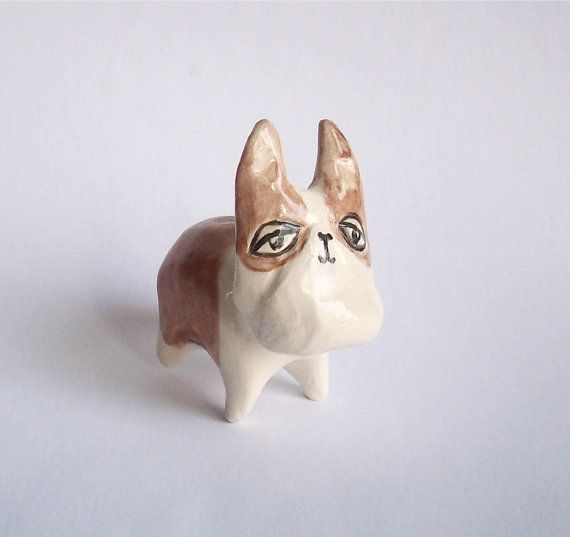 Miniature Ceramic French Bulldog In Tan And White Doll House Pets French Bulldog Miniatures