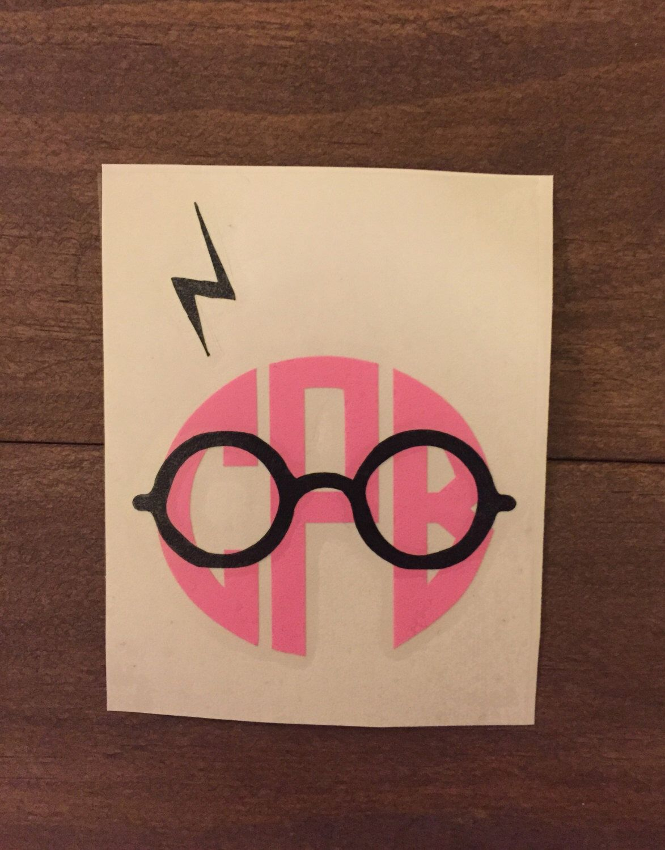 Harry Potter Inspired Monogram Vinyl Decal Eyeglasses Scar Circuit Board Wall Clock By Monogramit Lightning Bolt Yeti