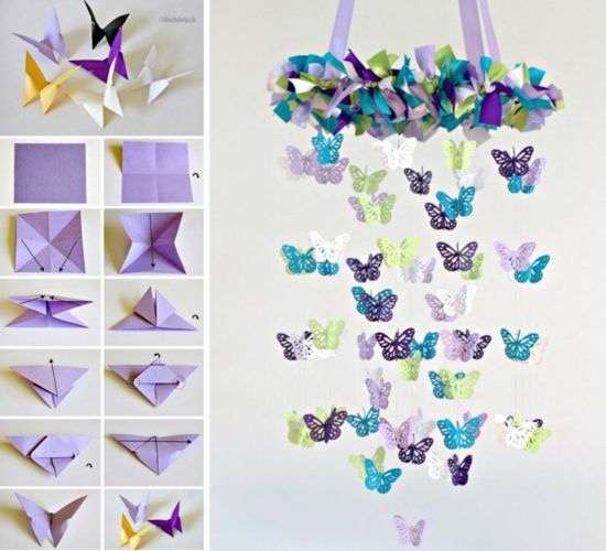 Butterfly mobile diy chandelier easy video tutorial for How to make paper butterflies for wall