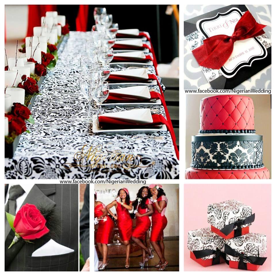 Red White And Black Damask Wedding Theme Weddings Black