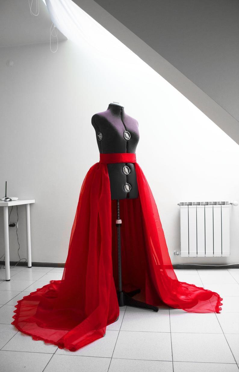 Ball gown overskirt red organza skirt removable skirt